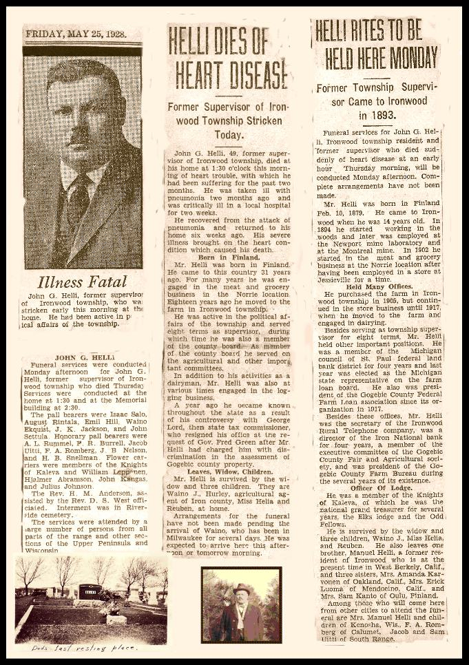 Obituary of John G Helli ... a composit of the many oobits that were written at the time of his death iin 1928